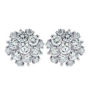 2.35 Carat Round Cut Diamond Cluster Stud Earrings